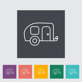Trailer. Outline icon on the button. Vector illustration stock illustration