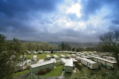 Trailer park. View of a caravan park in central Wales. UK royalty free stock photos