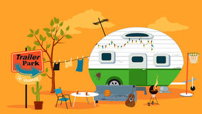 Trailer park scene Royalty Free Stock Images