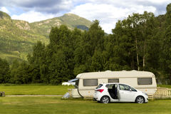 Trailer parking along the mountain road to the fjords Stock Photo