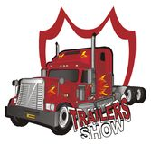 Trailer and red icon. American trailer with red banner and words royalty free illustration