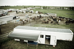 Trailer at rodeo. A medical trailer at a rodeo in alberta canada Stock Photos