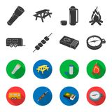 Trailer, shish kebab, matches, compass. Camping set collection icons in black,flet style vector symbol stock. Illustration Royalty Free Stock Photography
