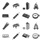Trailer, shish kebab, matches, compass. Camping set collection icons in black,monochrome style vector symbol stock. Illustration Royalty Free Stock Photo