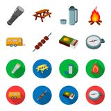 Trailer, shish kebab, matches, compass. Camping set collection icons in cartoon,flat style vector symbol stock. Illustration Royalty Free Stock Image