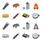 Trailer, shish kebab, matches, compass. Camping set collection icons in cartoon,monochrome style vector symbol stock. Illustration Royalty Free Stock Images