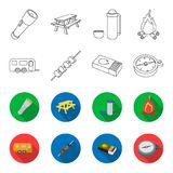 Trailer, shish kebab, matches, compass. Camping set collection icons in outline,flet style vector symbol stock. Illustration Stock Photography