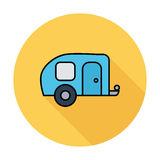 Trailer. Single flat color icon on the circle. Vector illustration vector illustration