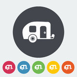 Trailer. Single flat icon on the circle button. Vector illustration royalty free illustration