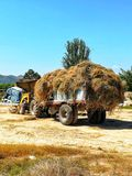 Trailer with straw royalty free stock photo