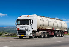 Trailer tanker truck on the highway Stock Photography