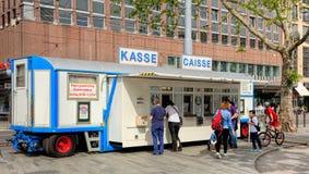 Trailer with ticket counter of Circus Knie in Zurich, Switzerlan Stock Photo