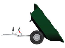 Trailer to minitractor. Two-wheeled trailer to minitractor. Vector illustration Royalty Free Stock Images