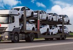 The trailer transpor car Stock Photo
