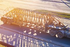 Trailer for the transportation of concrete structures in the sun stock photo