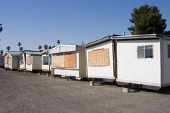 Trailer Trash #4. Split in half mobile homes for sale stock photo