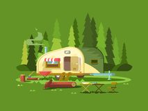 Trailer for travel in forest Stock Image