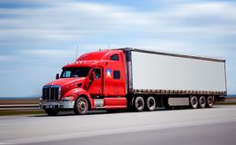 Trailer truck. Yf on highway in movement stock photo