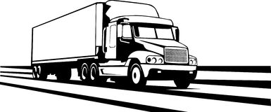 Trailer truck along the interstate Royalty Free Stock Photography