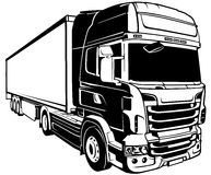 Trailer Truck. Black Outlined Illustration, Vector vector illustration