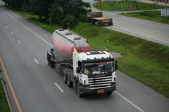 Trailer truck, cement container. Trailer truck, cement container to chiangmai province Royalty Free Stock Images