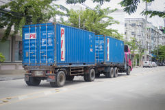 Trailer truck, container. Stock Photo