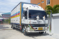 Trailer truck, container of CNP GROUP Logistics company Stock Photos