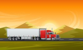 Trailer truck long vehicle vector flat design. Trailer truck or long vehicle car transport on road with mountain nature landscape. Vector background design royalty free illustration