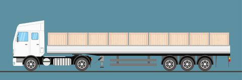 Trailer truck long vehicle.truck carries wooden boxes. Vector flat trendy illustration royalty free illustration