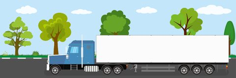 Trailer truck long vehicle on road,natural landscape in the back. Ground,flat vector illustration vector illustration