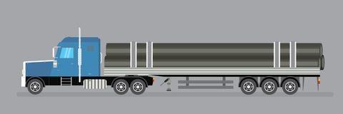 Trailer truck long vehicle.truck transports steel pipes. Vector flat trendy illustration stock illustration