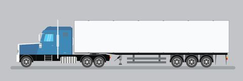 Trailer truck long vehicle. Vector flat trendy illustration stock illustration