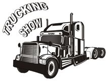 Trailer and trucking show. Black and white trailer with black and white words trucking show Royalty Free Stock Images