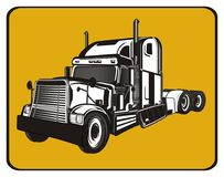 Trailer and yellow sign. Black and white american trailer on the middle of yellow road sign vector illustration