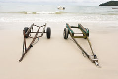 Trailers on a beach stock image