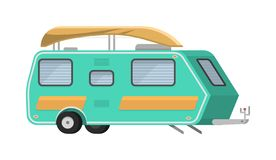 Trailers or family RV camping caravan. Tourist bus and tent for outdoor recreation and travel. Mobile home truck. Suv. Car Crossover. Tourist transport, road royalty free illustration