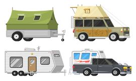 Trailers or family RV camping caravan. Tourist bus and tent for outdoor recreation and travel. Mobile home truck. Suv. Car Crossover. Tourist transport, road stock illustration
