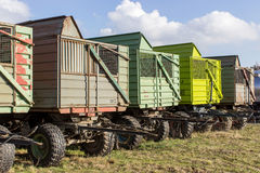 Trailers. Row with trailers for agricultural vehicles Stock Photography