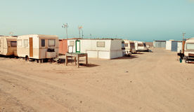 Trailers small town. Slums between hotels. Fuerteventura Royalty Free Stock Photography
