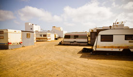 Trailers town. Slums between hotels. Fuerteventura Stock Images
