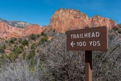 Trailhead 100码标志 免版税库存照片