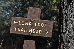 Trailhead Loop. Trail sign on the Wooded Hill Trail atop Mount Laguna, San Diego County, California Royalty Free Stock Images