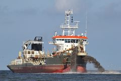 Trailing suction hopper dredger Royalty Free Stock Image