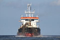 Trailing suction hopper dredger. Creating land Stock Photography