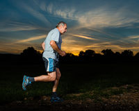 Trailrunning of a senior Stock Photo