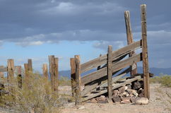 Trails End, Cattle Guard, Rustic Beauty Tonopah Arizona. Cattle Chute Sonoran Desert Cattle Drive Ok Dokie Corral Stock Photo