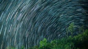 trails för stjärna för nattsky Arkivbilder