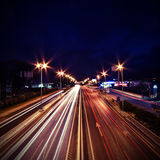Trails of light by cars. The picture shows trails of light by cars royalty free stock photos