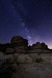 Trails and Milky Way in Joshua Tree National Park Stock Images