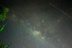 Trail of a Milkyway. Trails of milkyway travels across the small town of Tuaran , Sabah, Malaysia Stock Photography